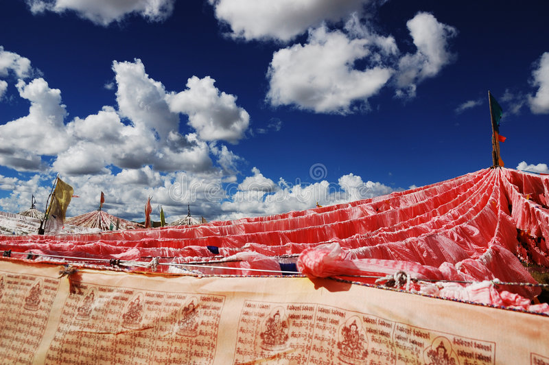 Tibet flags stock photo