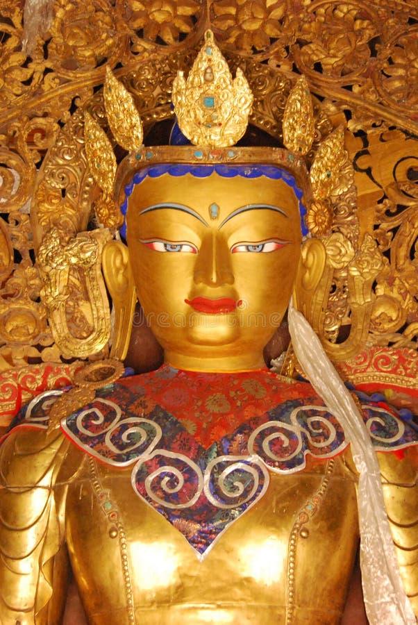 Tibet, gyantse, augustus 2010 - standbeeld van Boedha royalty-vrije stock afbeeldingen