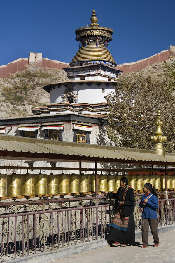 Tibet - Gyantse Kumbum - Prayer Wheels stock photo