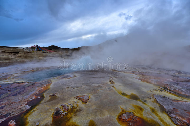 Tibet Hot springs. 2016 in Tibet, hot springs spewing water up to 3 meters high stock photos
