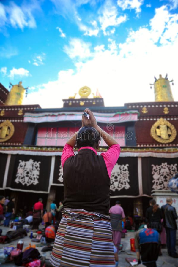 A pious prayer,Jokhang Temple,Lhasa,Tibet, China stock image