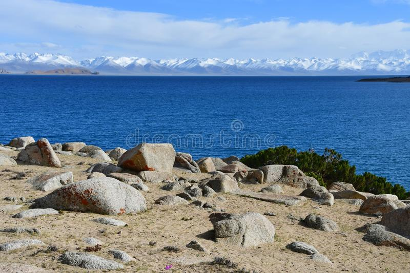 Tibet, lake Nam-Tso Nam Tso in summer, 4718 meters above sea level. Place of power. China stock photos