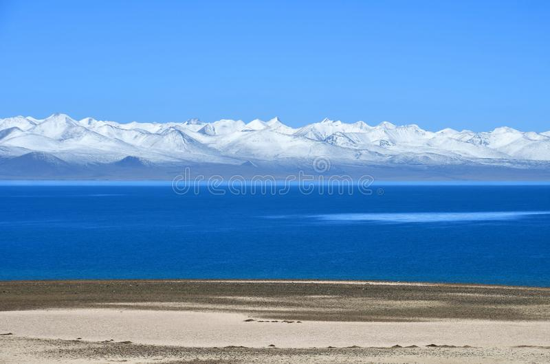 Tibet, lake Nam-Tso Nam Tso in summer, 4718 meters above sea level. Place of power. China royalty free stock image