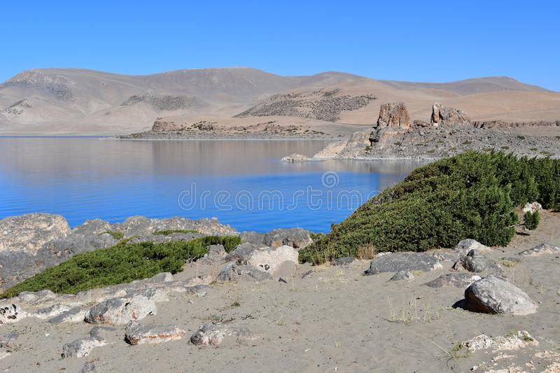 Tibet, lake Nam-Tso Nam Tso in summer, 4718 meters above sea level. Place of power.  royalty free stock photo