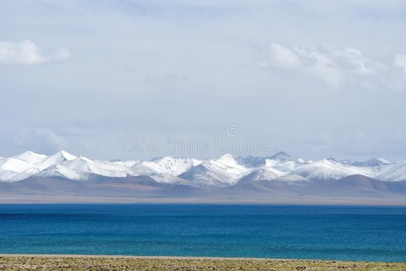 Tibet, lake Nam-Tso Nam Tso in summer, 4718 meters above sea level.  Place of power.  royalty free stock photos