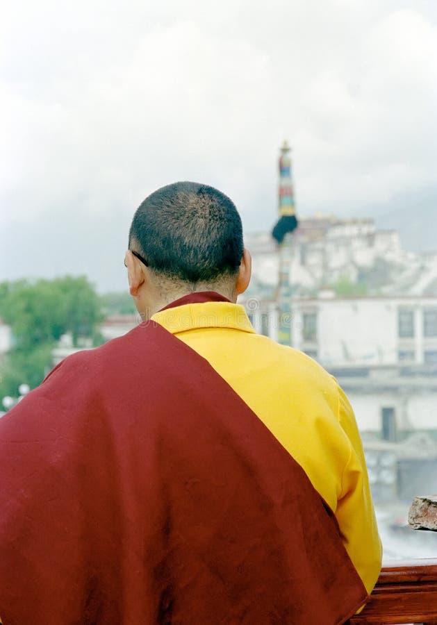 Tibet monk praying royalty free stock image