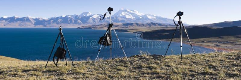 Tibet: mount naimonanyi and lake mapham yumtso stock image