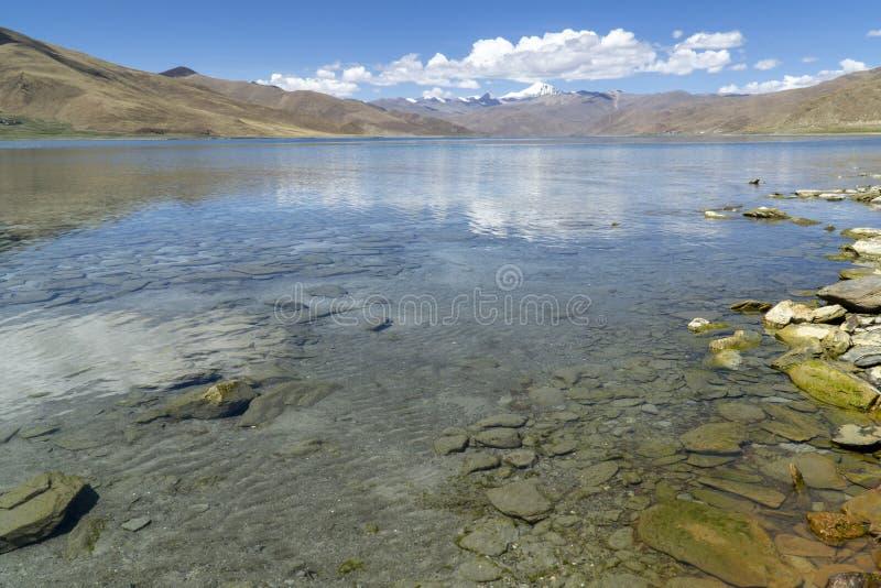 Tibet now China, panoramic view of Lake Yamdrok.  royalty free stock photos