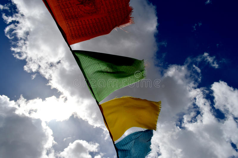 Tibet prayer flags. In the wind stock image