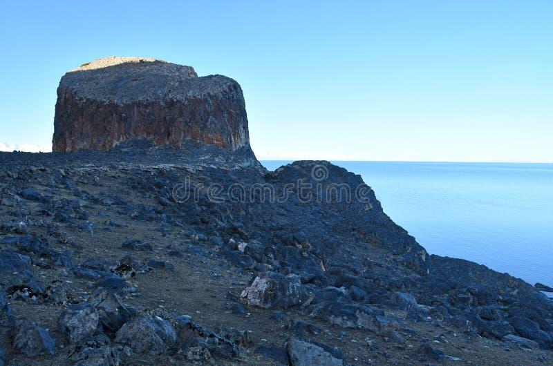 Tibet sj? Nam-Tso Nam Tso i sommar, 4718 meter ovann?mnd havsniv? Geoglyph - ?ronen av h?sten placera str?m royaltyfri bild