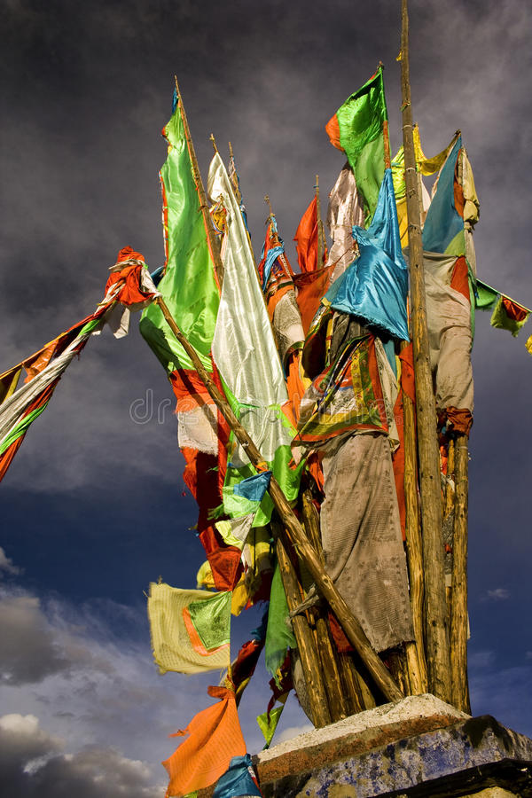 Tibet, stupa on top of a hill, buddhism in china royalty free stock photo
