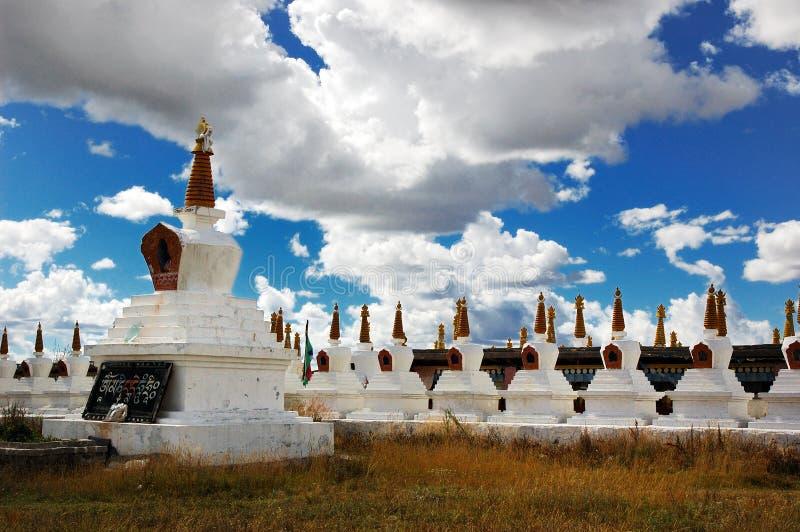 Tibet white pagodas royalty free stock images