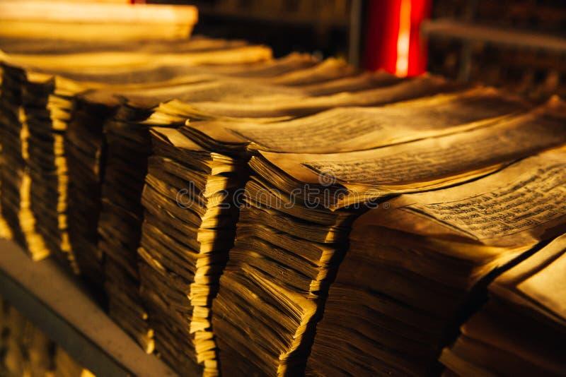Tibetaans die Manuscript in een Oude Taal wordt geschreven stock fotografie