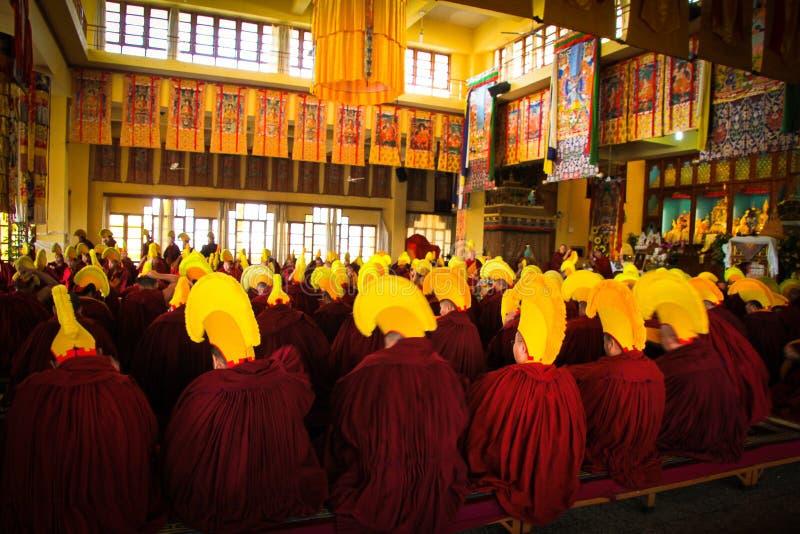 Tibetaanse Boeddhistische ceremonie, Gyuto-klooster, Dharamshala, India royalty-vrije stock afbeelding