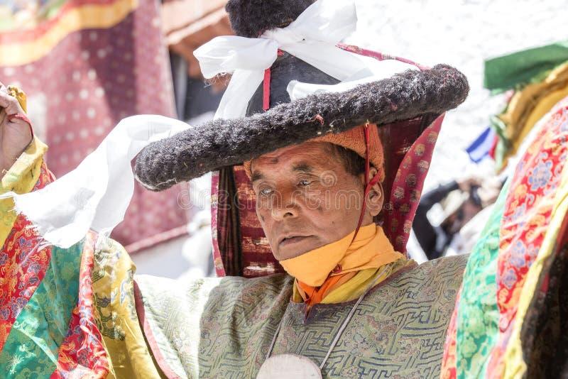 Tibetaanse boeddhistische monnik tijdens Hemis-Festival in Ladakh, Noord-India royalty-vrije stock foto