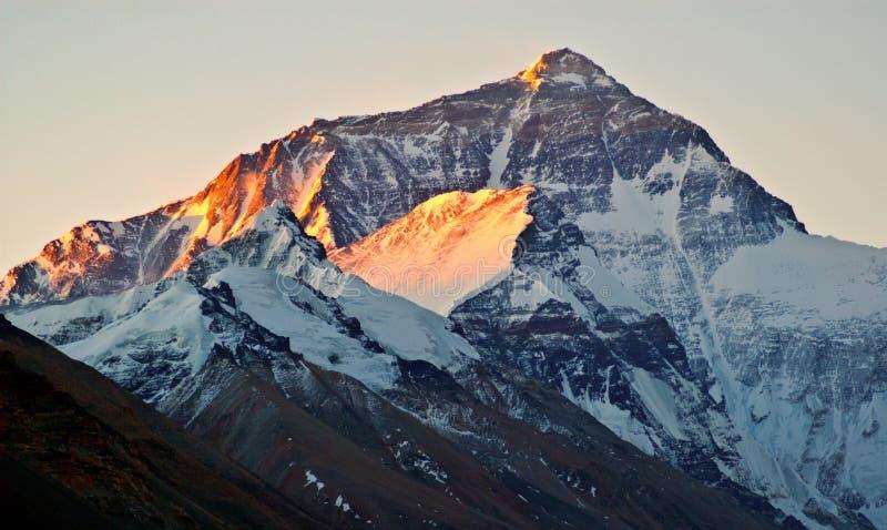Tibetaanse plateau scène-ochtend zonneschijn op Everest (Onderstel Qomolangma) en lhotse royalty-vrije stock afbeelding