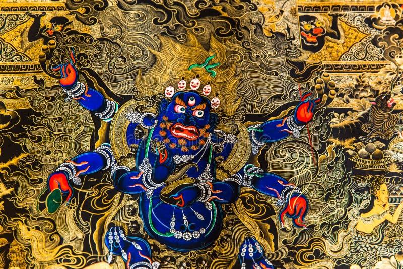 Tibetaanse Thangka die schilderen: De Fusie van een Kunst en een Cultuur royalty-vrije stock foto