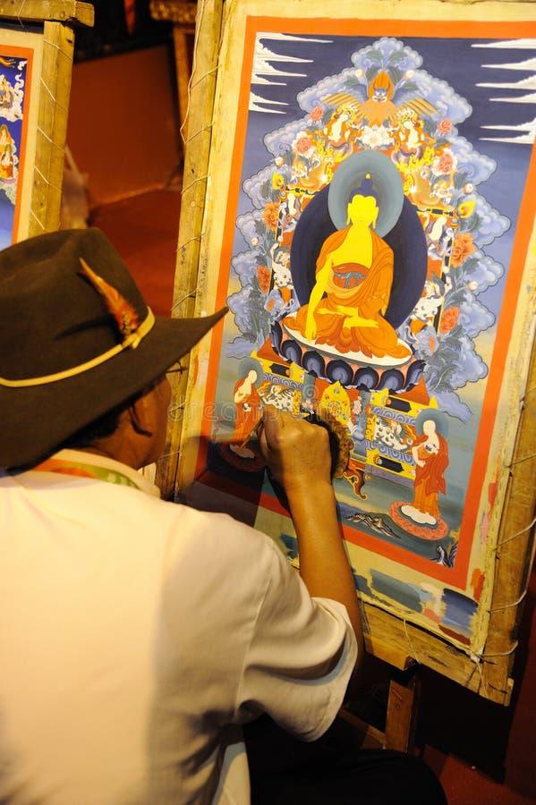 Tibetan Artisan  Painting Tangka Editorial Photo