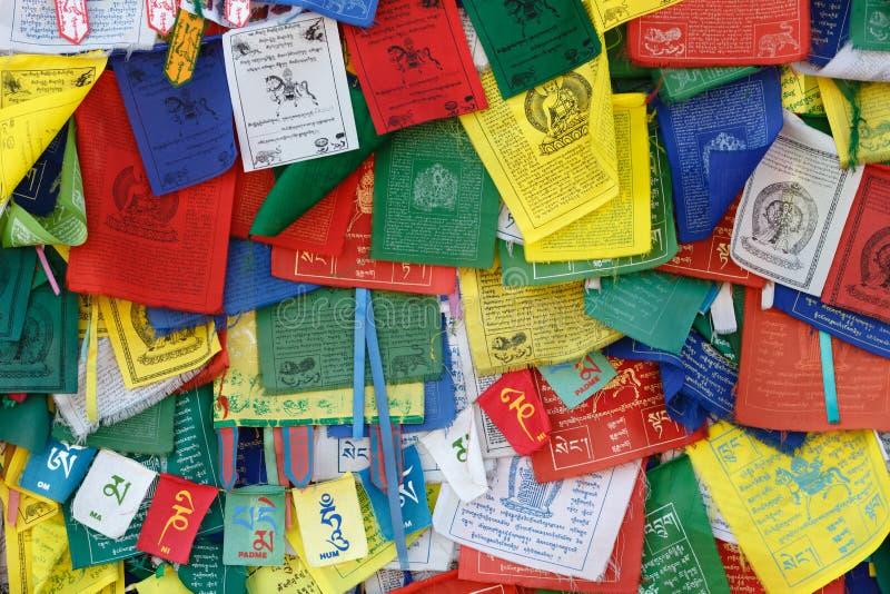 Tibetan Buddhism prayer flags (lungta) with Om Mani Padme Hum royalty free stock photo
