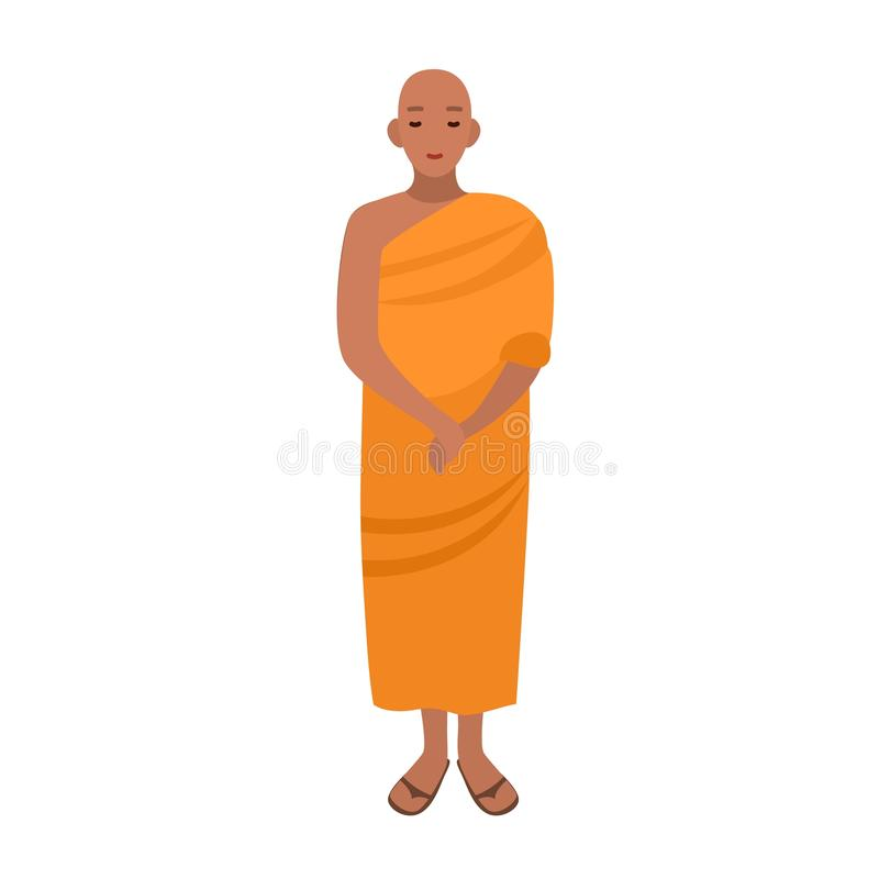 Free Tibetan Buddhist Monk Dressed In Traditional Religious Clothing. Asian Monastic Wearing Long Orange Robe. Male Cartoon Stock Image - 114056021