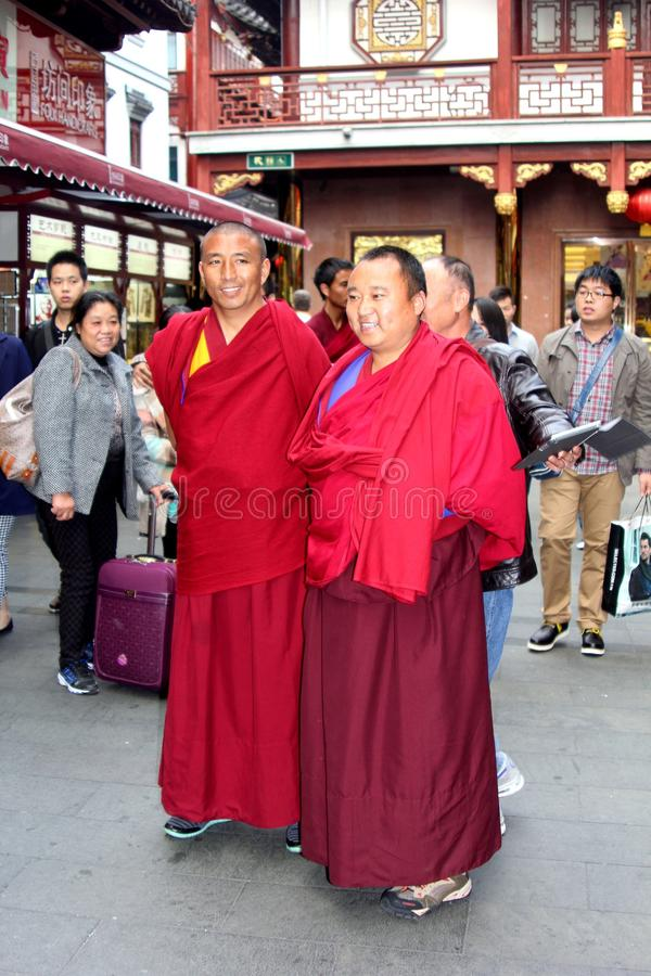 Tibetan Buddhist monks in Shanghai Old Town, China royalty free stock photo