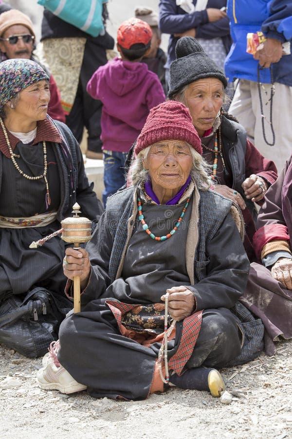 Tibetan Buddhist old women in the monastery of Lamayuru, Ladakh, India royalty free stock photography