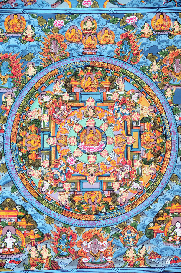 Download Tibetan Buddhist Thangka stock photo. Image of colourful - 6433564