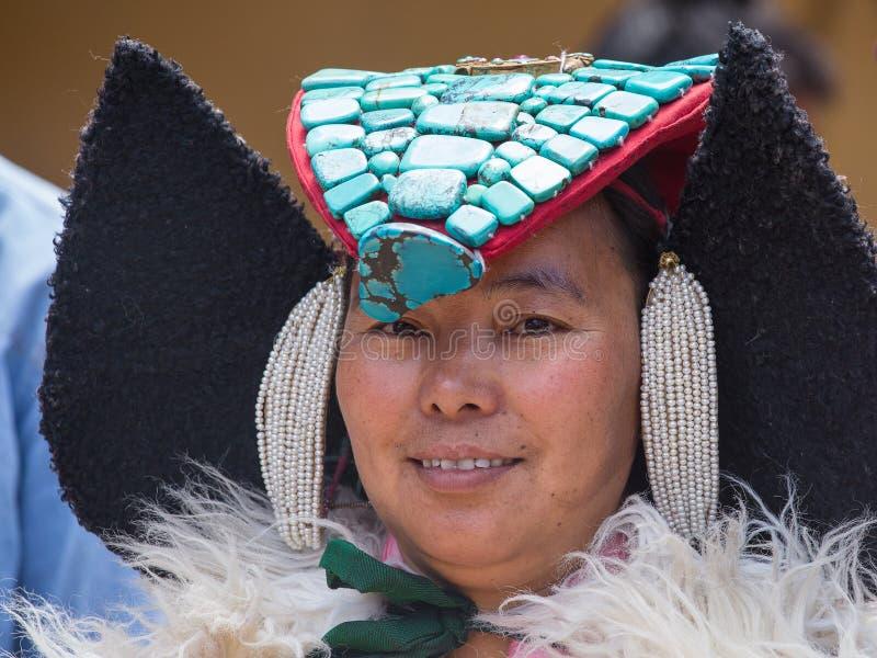 Tibetan Buddhist women in national dress. Hemis monastery, Ladakh, North India stock photos