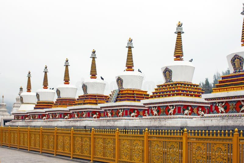Tibetan Chorten. Stupa In Kumbum Monastery. Tibetan Religious Elements Of Chorten. Serious Of Colourful Stupa In Kumbum Monastery in Xining, China royalty free stock photo