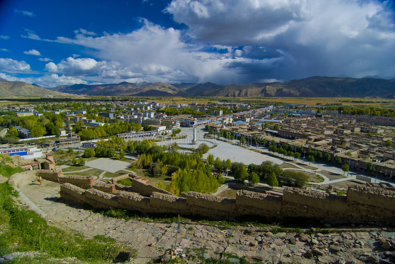 Tibetan city. In the mountains royalty free stock image