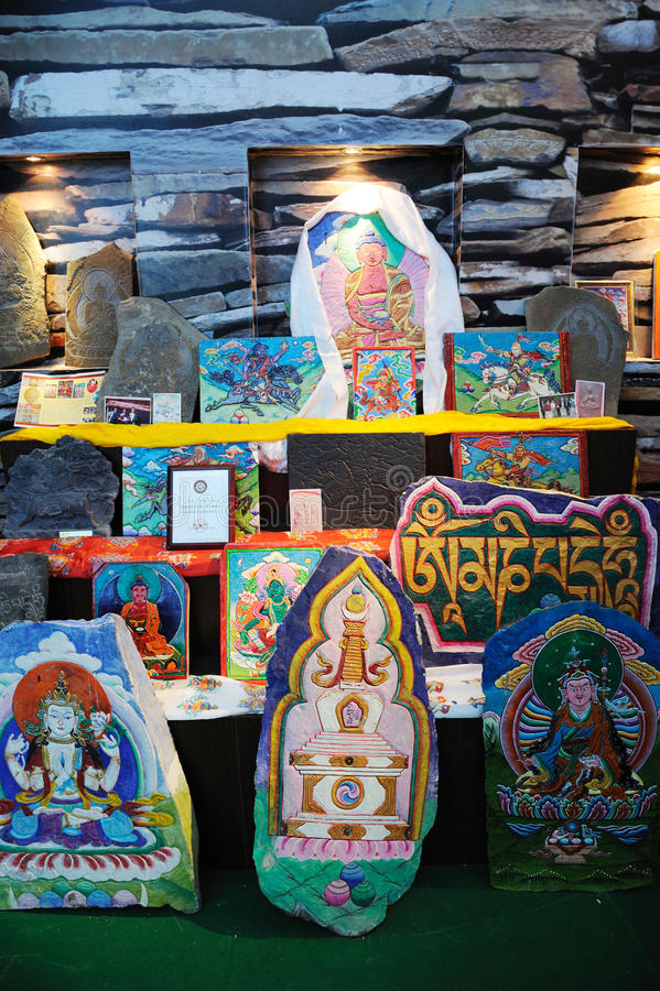 Tibetan Colored Carved Stones Of Gesar S Editorial Photo
