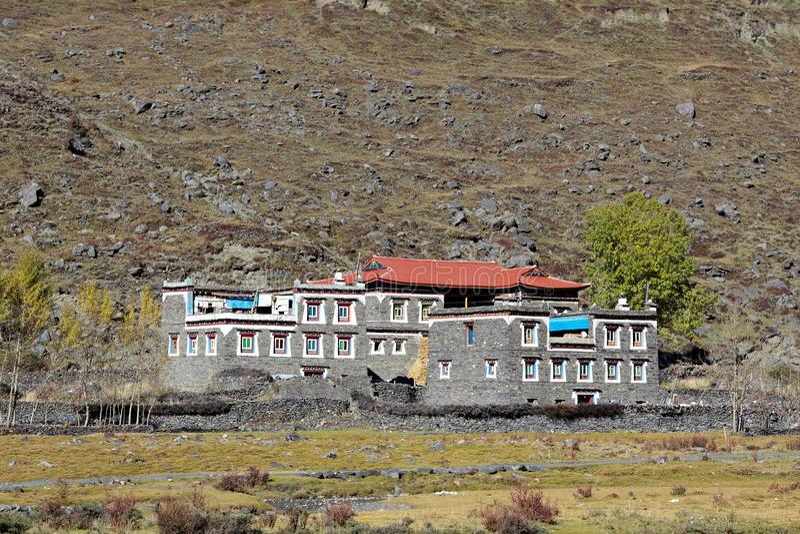 Tibetan dorp stock afbeelding