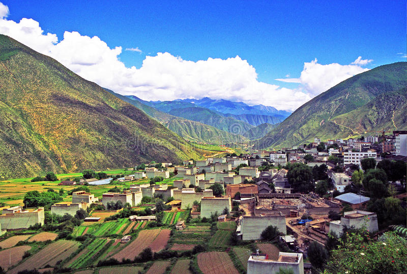 Tibetan dorp royalty-vrije stock afbeelding