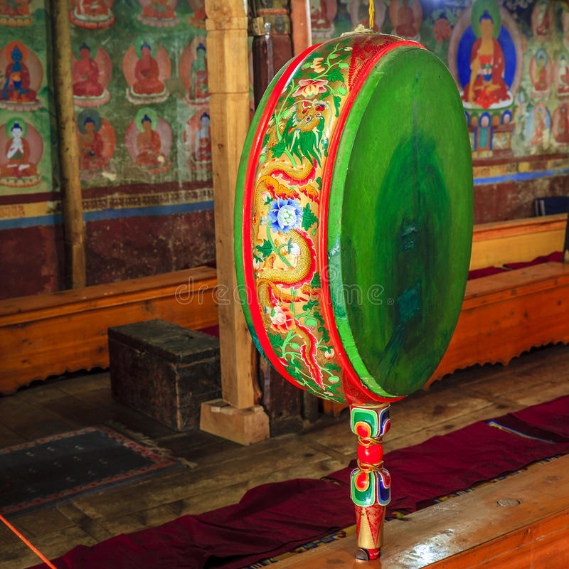 Tibetan drum. Ceremonial drum in Buddhist temple in a monastery in Ladakh province of India stock photo