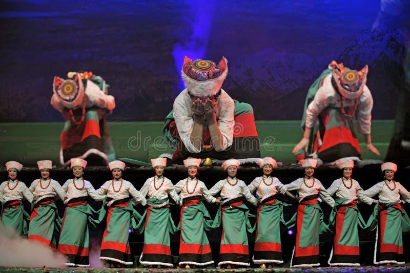 Tibetan ethnic dance royalty free stock photo