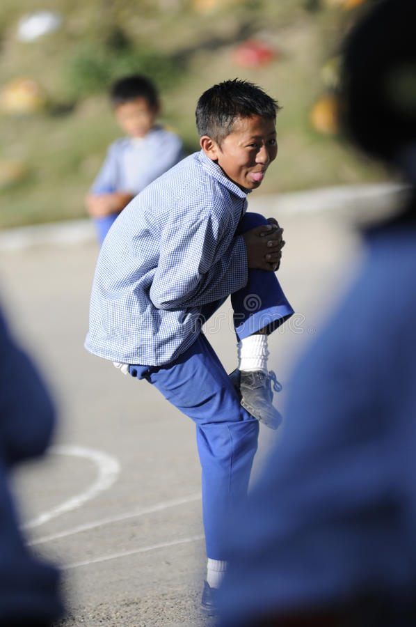tibetan by för barn s royaltyfria foton