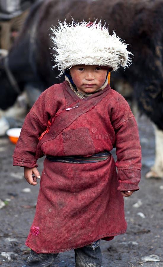 Tibetan jongen stock foto's
