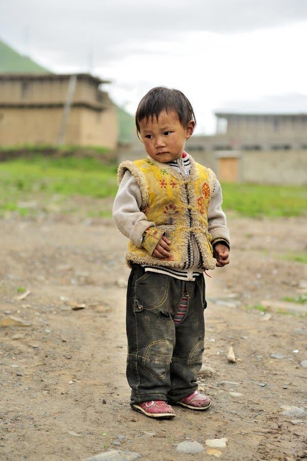 Tibetan kid portrait stock photo