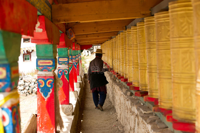 Download Tibetan Man Walking Through Corridor With Prayer W Editorial Stock Image - Image of traditional, temple: 21595454