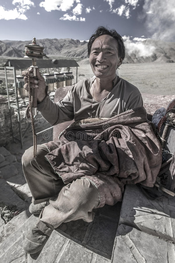 Tibetan Man - Yambulagang Monastery - Tibet royalty free stock photos
