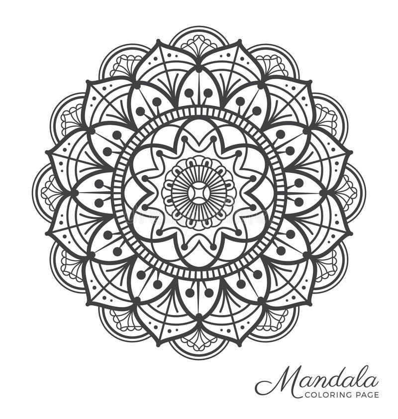 Tibetan mandala decorative ornament design. For adult coloring page, greeting card, invitation, tattoo, yoga and spa symbol. Vector illustration royalty free illustration