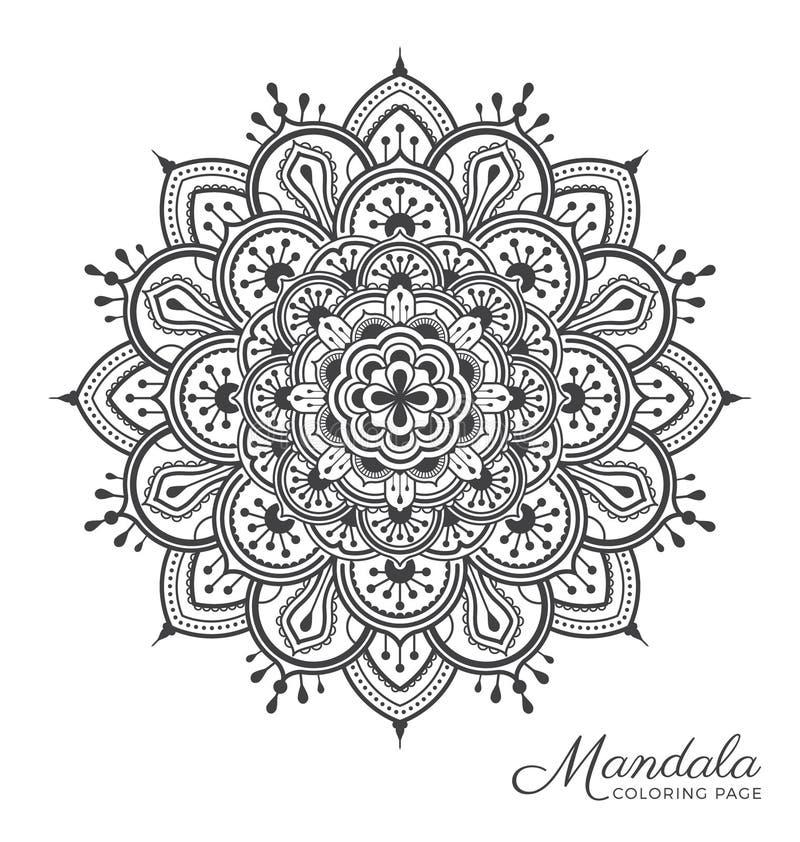 Tibetan mandala decorative ornament design. For adult coloring page, greeting card, invitation, tattoo, yoga and spa symbol. Vector illustration stock illustration