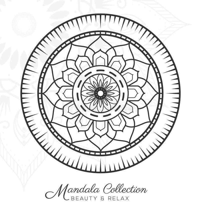 Tibetan mandala decorative ornament design. For coloring page, greeting card, invitation, tattoo, yoga and spa symbol. Vector illustration vector illustration