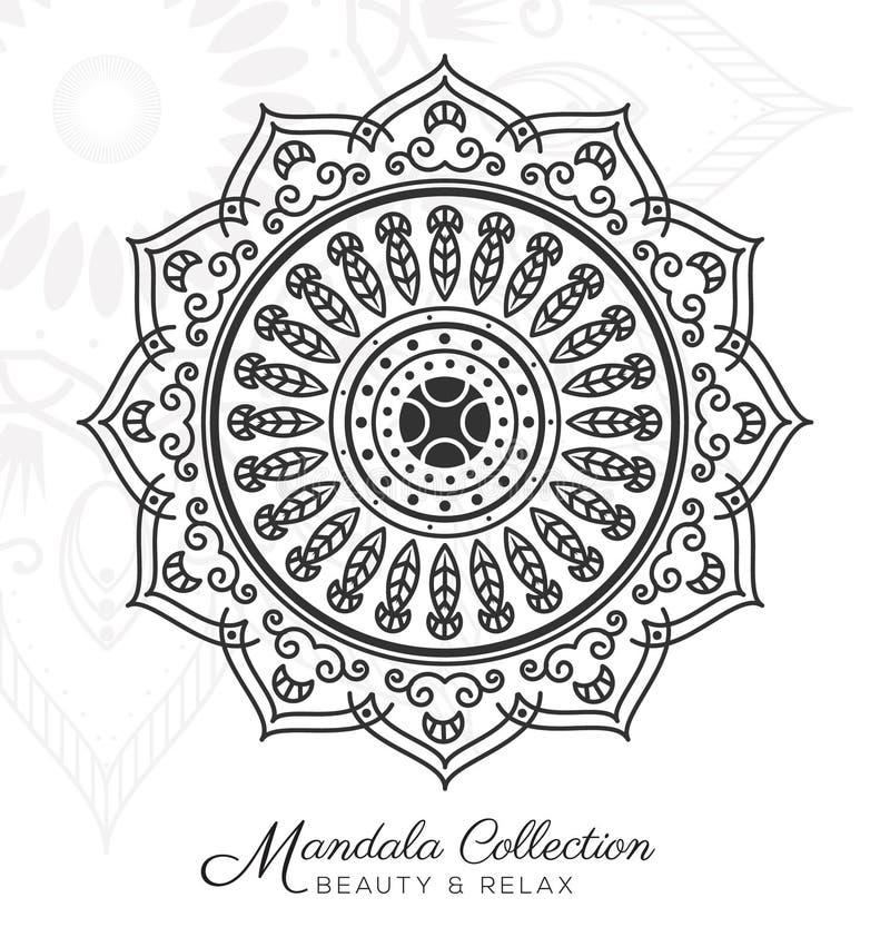 Tibetan mandala decorative ornament design. For coloring page, greeting card, invitation, tattoo, yoga and spa symbol. Vector illustration royalty free illustration