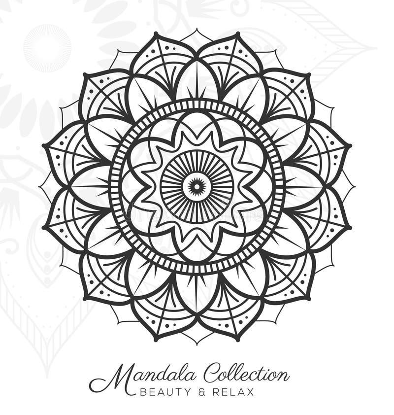 Tibetan mandala decorative ornament design. For coloring page, greeting card, invitation, tattoo, yoga and spa symbol. Vector illustration stock illustration