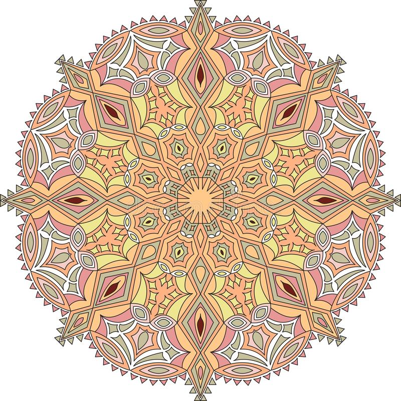 Tibetan mandala illustration. Vector illustration. Pastels. Decorative round ornament. Background for meditation poster. Unusual flower shape oriental line stock illustration