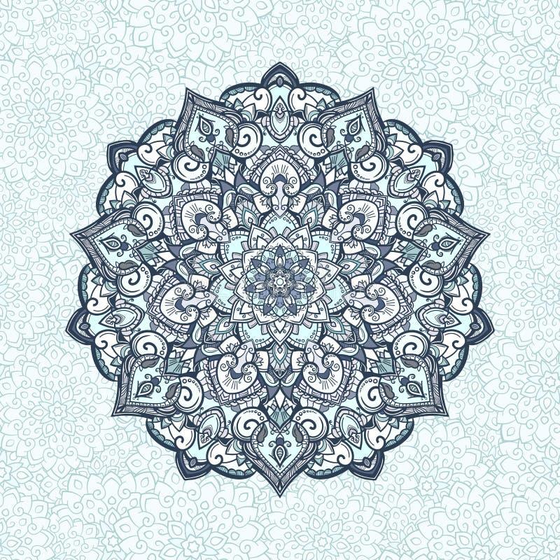Tibetan mandala. Mandala. Tibetan mandala on seamless background. Vintage decorative elements. Hand drawn seamless pattern. Islam, Arabic, Indian, ottoman motifs royalty free illustration