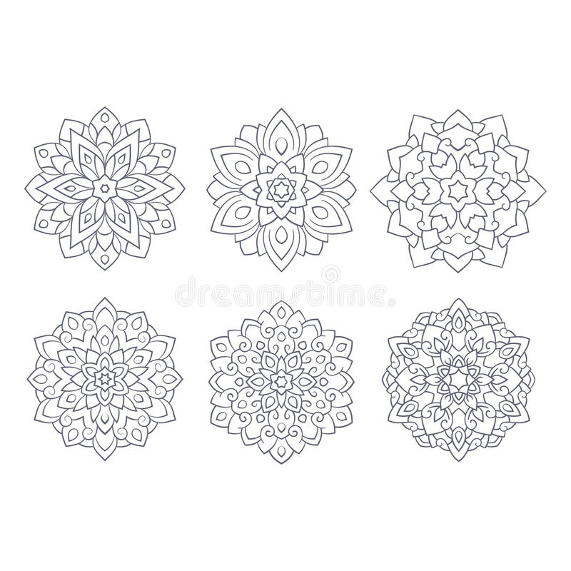 Tibetan mandala. Mandala set. Tibetan mandala on white background. Vintage decorative elements. Islam, Arabic, Indian, ottoman motifs royalty free illustration