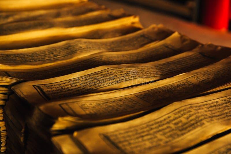 Tibetan Manuscript Written in an Ancient Language stock photography