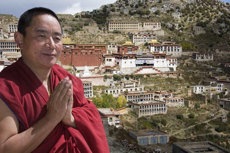 Tibetan Monk - Ganden Monastery - Tibet royalty free stock images